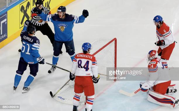 Captain Valtteri Filppula of Finland celebrate his goal with Mikko Rantanen during the 2017 IIHF Ice Hockey World Championship game between Finland...