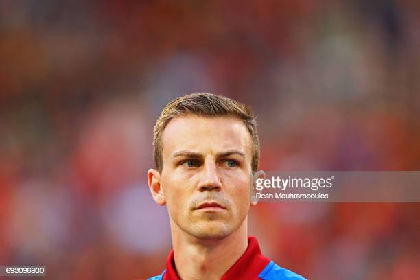 Captain Vladimir Darida of the Czech Republic stand for the national anthem prior to the International Friendly match between Belgium and Czech...