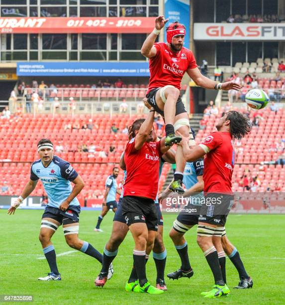 Captain Warren Whiteley of the Lions wins possession during the Super Rugby match between Emirates Lions and Waratahs at Emirates Airlines Park on...