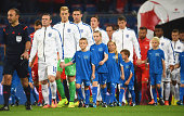 Captain Wayne Rooney of England leads out his team prior to UEFA EURO 2016 Group E qualifying match between Switzerland and England at St JakobPark...