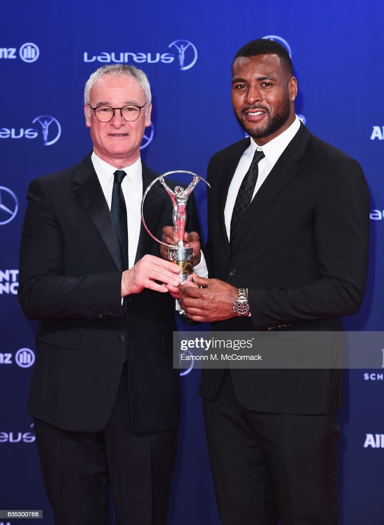 Captain Wes Morgan and Manager Claudio Ranieri pose with trophy on behalf Leicester City FC of winners of the Laureus Spirit of Sport Award attends the Winners Press Conference and Photocall during the 2017 Laureus World Sports Awards at the Salle des Etoiles,Sporting Monte Carlo on February 14, 2017 in Monaco, Monaco.