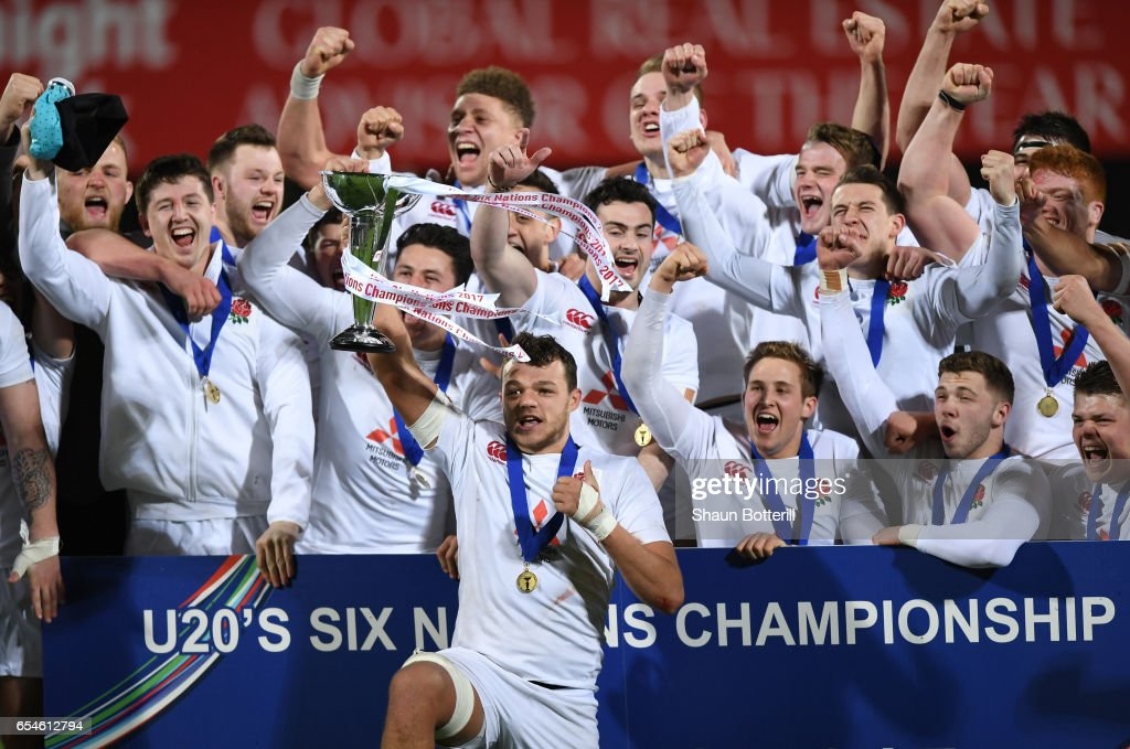 Captain Zach Mercer of England and his players celebrate with the trophy after wining the Grand Slam during the U20 Six Nations match between Ireland and England at Donnybrook Stadium on March 17, 2017 in Dublin, Ireland.