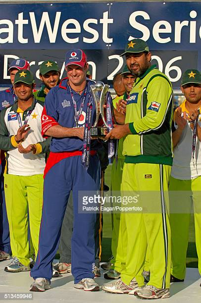 Captains Andrew Strauss of England and InzamamulHaq of Pakistan with the trophy after the series was tied during the NatWest Series One Day...
