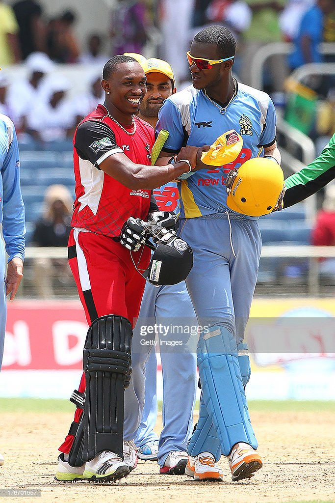 Captains Dwayne Bravo and Darren Sammy after the Eighteenth Match of the Cricket Caribbean Premier League between St. Lucia Zouks v Trinidad and Tobago Red Steel at Sabina Park on August 17, 2013 in Kingston, Jamaica.