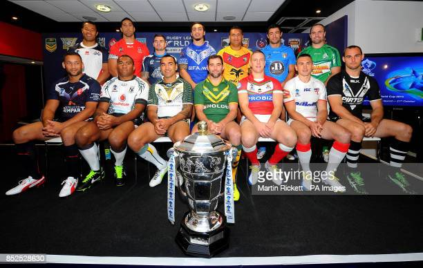 Captains for the 14 competing teams including Scotland's Danny Brough and England's Kevin Sinfield pose for a picture during the 2013 Rugby League...