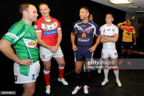 Captains Ireland's Liam Finn Wales' Craig Kopzcah France's Olivier Elima and England's Kevin Sinfield after posing for a picture during the 2013...