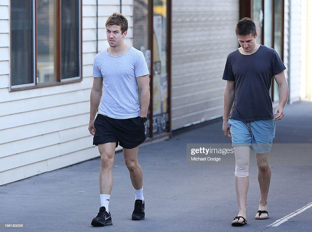 Captains Jack Trengove (L) and Jack Grimes of the Demons are seen walking during a camp for Melbourne Demons AFL players and coaching staff at Sorrento on April 10, 2013 in Melbourne, Australia.