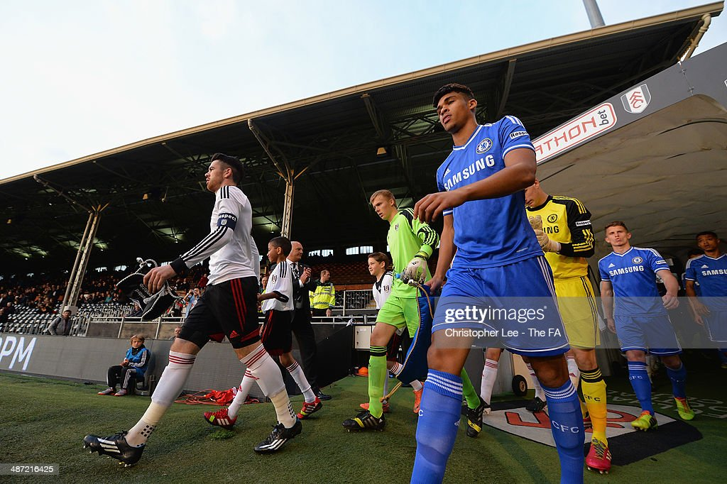 Captains Liam Donnelly of Fulham and Ruben Loftus-Cheek of Chelsea lead their teams out onto the pitch during the FA Youth Cup Final First Leg match between Fulham U18 and Chelsea U18 at Craven Cottage on April 28, 2014 in London, England.