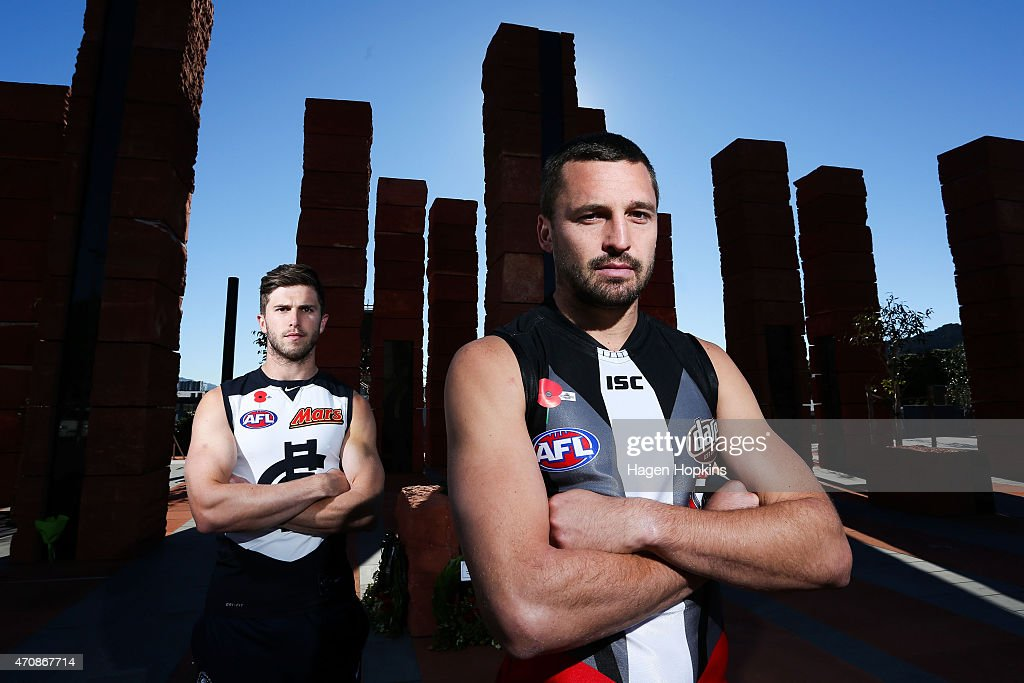 Captains Marc Murphy (L) of Carlton and Jarryn Geary of St Kilda pose in front of the Australian Memorial following an AFL press conference at the National War Memorial Park on April 24, 2015 in Wellington, New Zealand.