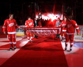 Captains Nicklas Lidstrom Henrik Zetterberg Pavel Datsyuk Kris Draper of the Detroit Red Wings along with retired teamates Dominik Hasek and Dallas...