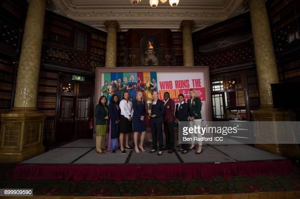 Captains of the eight competing countries Sana Mir of Pakistan Inoka Ranaweera of Sri Lanka Suzie Bates of New Zealand Heather Knight of England Meg...