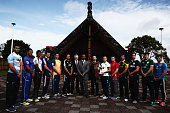 Captains of the Junior World Championship rugby teams pose for a photo with NZRu CEO Steve Tew Junior World Championship ambassador Jonah Lomu and...