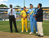 Captains Ricky Ponting of Australia and Sourav Ganguly of India during the coin toss before the ICC Cricket World Cup Final between Australia and...