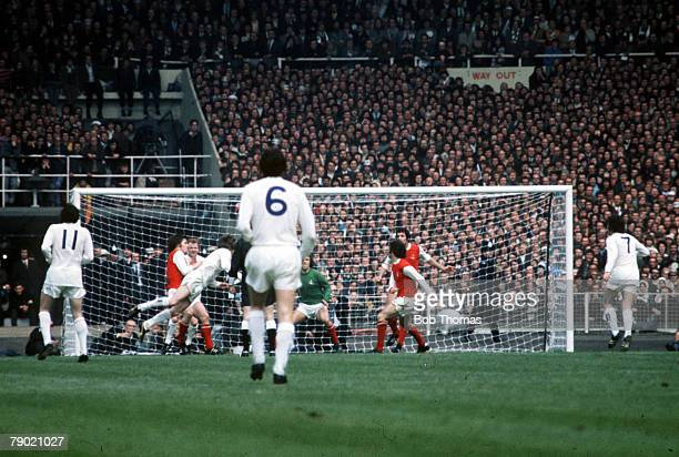Football 1972 FA Cup Final Wembley Stadium 6th May Leeds United 1 v Arsenal 0 Leeds United's Allan Clarke scores the winning goal