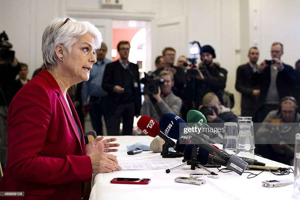 CAPTIONLeader of Danish Socialist People's Party and Minister for Social Affairs and Integration Annette Vilhelmsen announces her resignation from both posts and the pullout of the Socialist People's Party from Denmark's leftist government at a press conference in Copenhagen on January 30, 2014. The Socialist People's Party, one of the three member's of Denmark's leftist coalition, left the government over the controversial sale of a stake in state-controlled energy group DONG to a US investment bank.