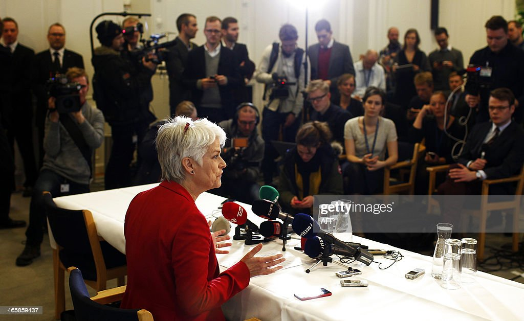 CAPTIONLeader of Danish Socialist People's Party and Minister for Social Affairs and Integration Annette Vilhelmsen announces her resignation from both posts and the pullout of the Socialist People's Party from Denmark's leftist government at a press conference in Copenhagen on January 30, 2014. The Socialist People's Party, one of the three member's of Denmark's leftist coalition, left the government over the controversial sale of a stake in state-controlled energy group DONG to a US investment bank. AFP PHOTO / SCANPIX DENMARK / BAX LINDHARDT +++ DENMARK OUT