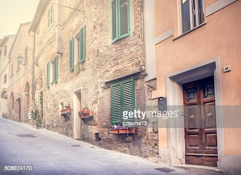 Captivating street of old Montepulciano : Stock Photo