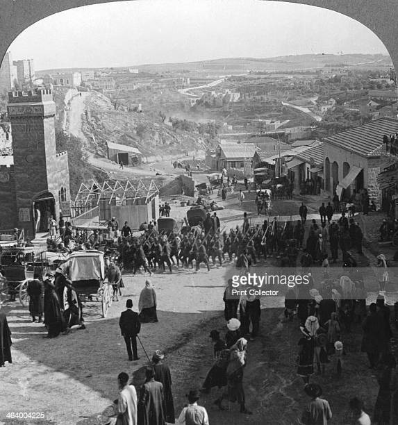 Capture of Jerusalem Palestine World War I c1917c1918 Turkish troops defeated by Allenby in retreat through Jerusalem by the Jaffa Gate Jerusalem was...