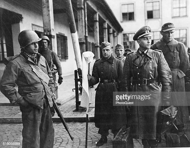 A captured German General in the custody of US troops Germany 1945 The man is possibly Generaloberst Hans Petry Kommandant of the POW camp Oflag VII...