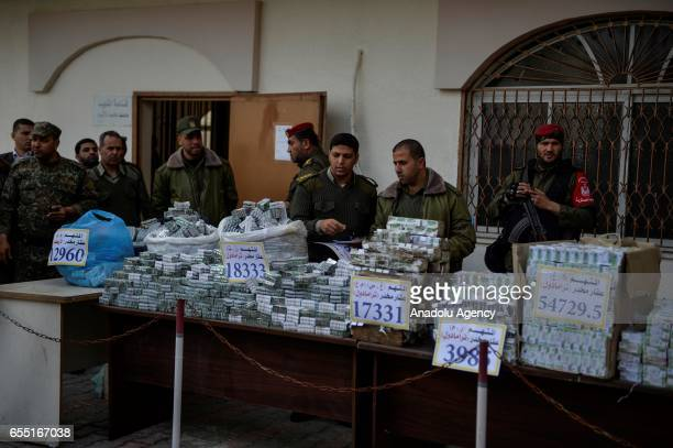Captured narcotic drugs are displayed for press members at courtmartial house after courtmartial sentenced two defendants who were on trial for drug...