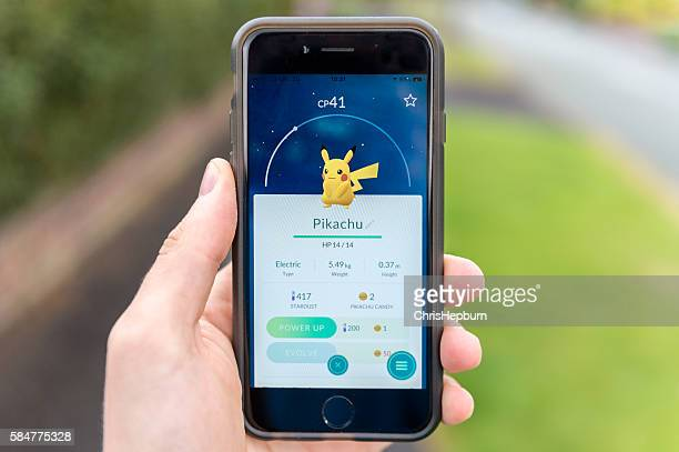 Captured Pikachu, Pokemon Go, iPhone 6
