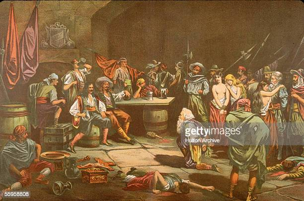 A captured Spaniard bows before Welsh privateer Sir Henry Morgan as Morgan and his crew of buccaneers sack the city of Panama 1670s