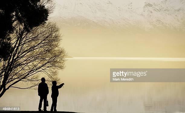 Capturing the moment at Lake Wanaka at sunset Otago