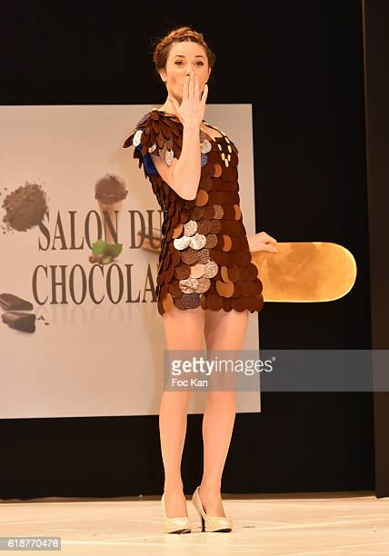 Capucine Anav dressed by Cameron Kham and chocolated by Jean Paul Hevin walk sthe runway during the Chocolate fashion show as a part of the Salon Du...