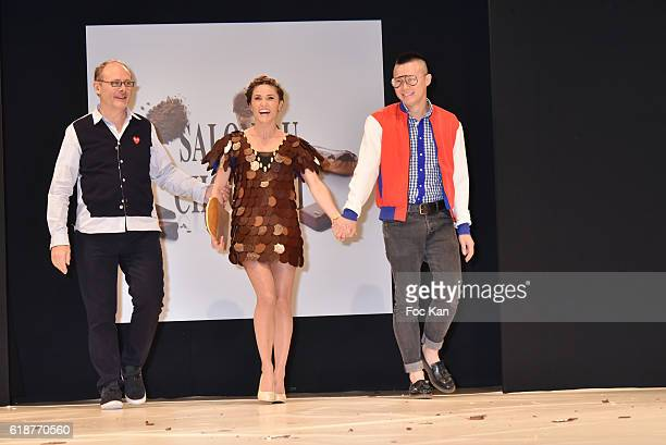 Capucine Anav dressed by Cameron Kham and chocolated by Jean Paul Hevin walk the runway during the Chocolate fashion show as a part of the Salon Du...