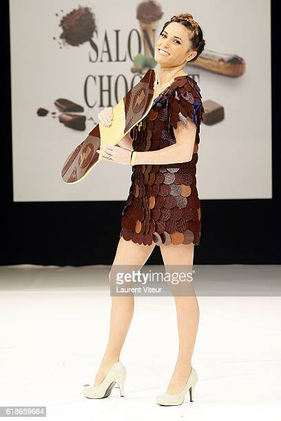 Capucine Anav walks the runway during the Dress Chocolate Show as part of Salon du Chocolat at Parc des Expositions Porte de Versailles on October 27...