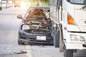 Car accident on the road, automobile transportation dangerous on street, insurance claim.