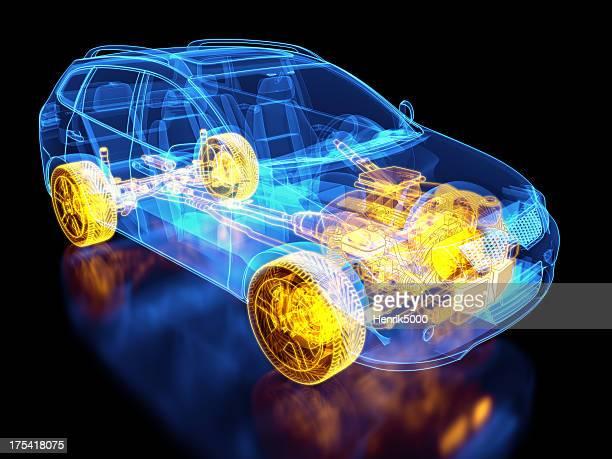 SUV Auto und chassis X-ray/Technische Zeichnung