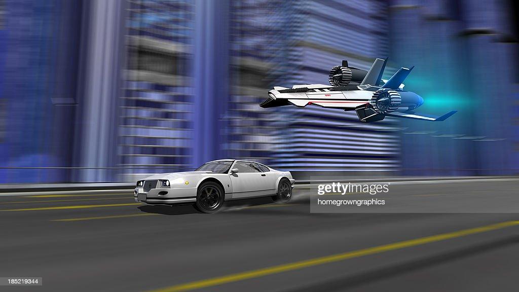 car and spaceship racing scene