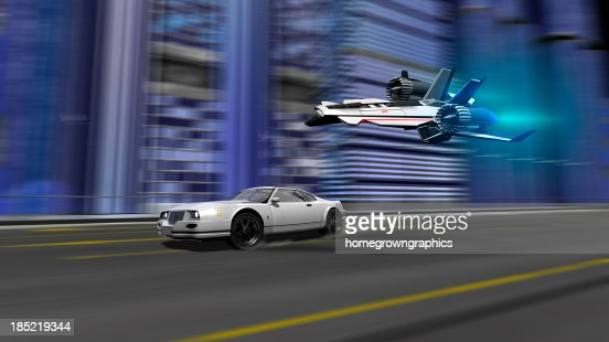 car and spaceship racing scene