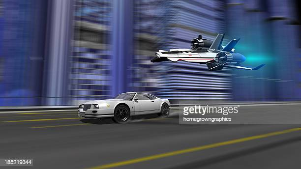 Auto und Raumschiff racing Motiv