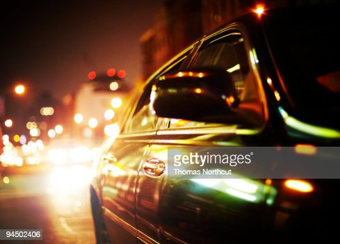 Car at Night in NYC : Stock-Foto