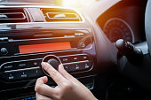 Car audio system concept. Music player in car. This will help you feel relaxed when you are driving.It is the amplifier technology that needs to be installed in the car.