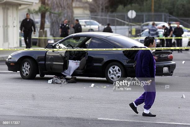 A car belonging to a man who got into a shootout with police in a shopping center parking lot in the 13000 block of Victory Blvd in North Hollywood...