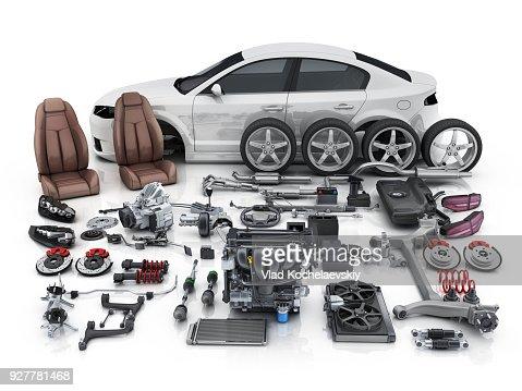 Cuerpo de coche desmontado y muchas piezas de los vehículos : Foto de stock
