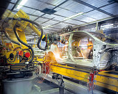 Car body welding robots in car factory