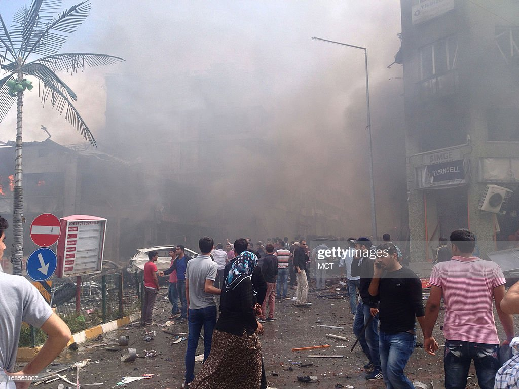 A car bomb caused damage and high casualities in Reyhanli, Turkey, near the border with Syria, Saturday, May 11, 2013.