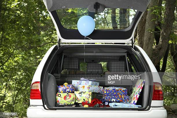 Car boot with present inside