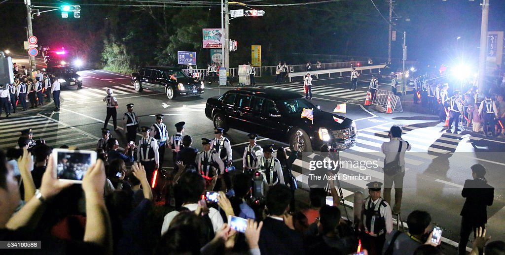 A car carrying U.S. President Barack Obama runs past well-wishers to Kashikojima Island where is the main venue of the Group of Seven summit on May 25, 2016 in Shima, Mie, Japan. The Group of Seven summit takes place on May 26 and 27 to discuss key global issues such as global economy and anti terrorism measures.
