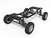 Car chassis on white background