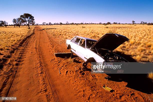 Car come to grief on isolated desert track far north South Australia Australia