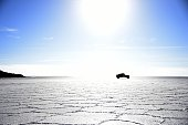 A car competes during the Stage 8 of the Dakar 2015 between Uyuni in Bolivia and Iquique in Chile on January 11 2015 Uyuni the world's largest salt...