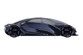 Car concept dark purple electric fast supercar, side view. 3D rendering