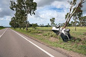 Car Crash Accident, Pick-Up Truck wrapped around a Tree, Highway. Nikon D810. Converted from RAW.