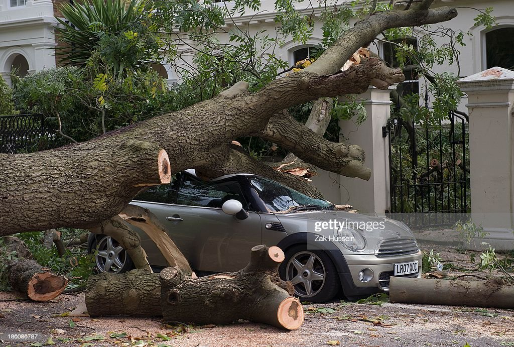 A car crushed by a fallen tree, following an overnight storm across southern England, in Camden Square on October 28, 2013 in London, England. Approximately 220,000 homes are without power and two deaths have been recorded after much of southern England has been affected by a severe storm. Transport links on road, rail, air and sea have been severely disrupted by hurricane-force winds that have almost reached 100 mph in places.