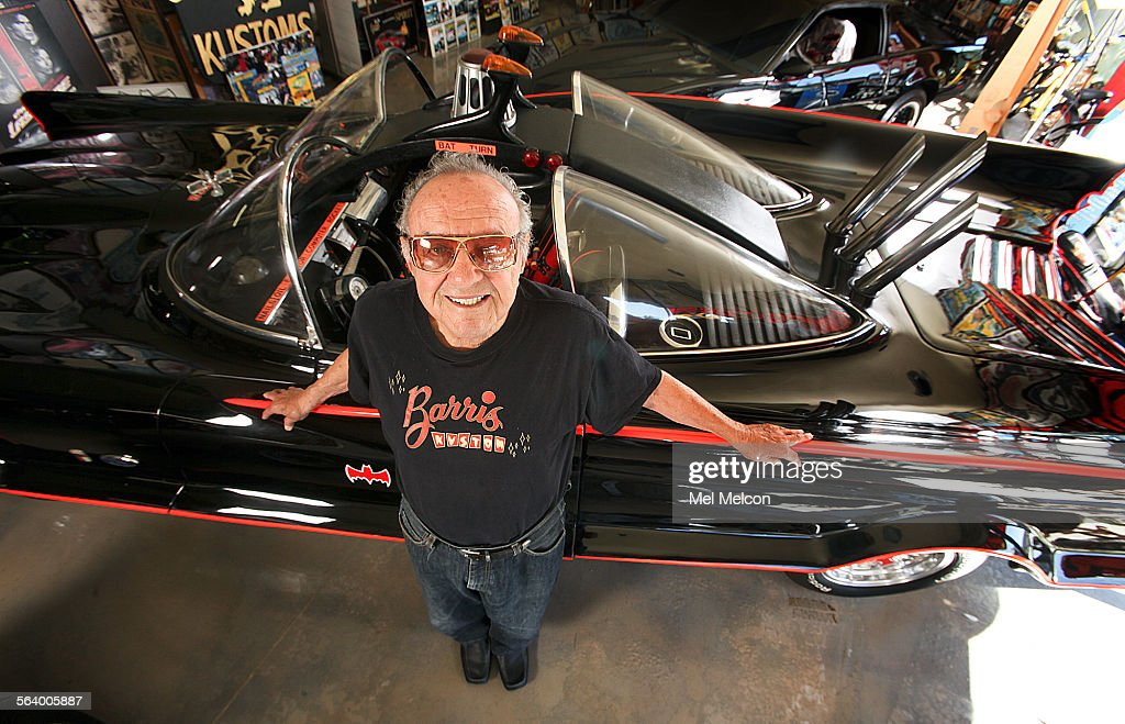 Car customizer George Barris, 87, is photographed next to the original Batmobile, at Barris Kustom Industries in North Hollywood on October 17, 2012. Barris designed this car for the 1966 'Batman' TV show starring Adam West and Burt Ward. Originally it started off as a $250,000 1955 Ford Lincoln Futura concept car. With a deadline of 3 weeks this Lincoln was transformed into the batmobile.